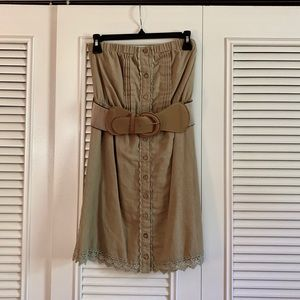 Strapless Button Up Belted Dress